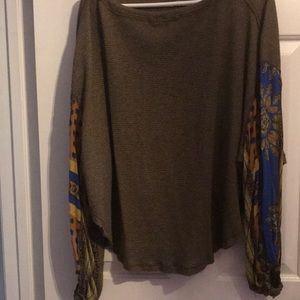 Free people thermal blossom printed balloon shirt